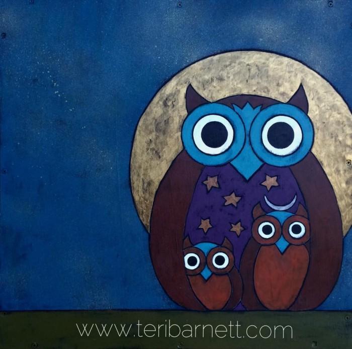 Night Owl, 24x24, acrylic on wood by Teri Barnett
