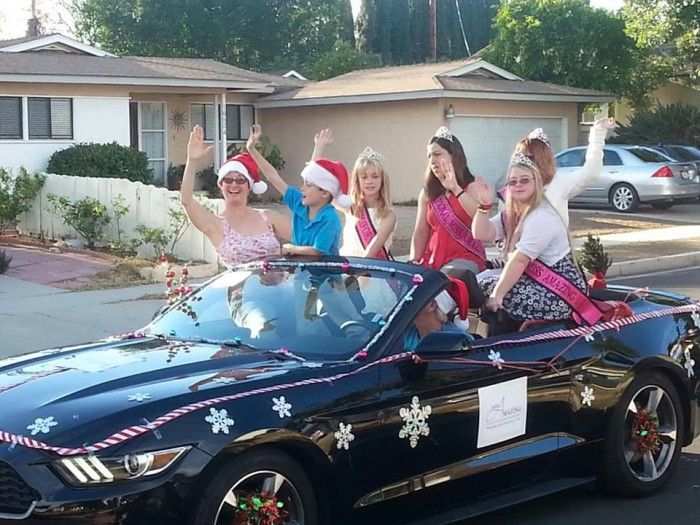 Lindy, her son, daughter and the other  beautiful Miss Amazing California Queens at the  beautiful Miss Amazing California Queens Granada Hills Christmas Parade.