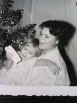 Mom and me on one 1960s Christmas