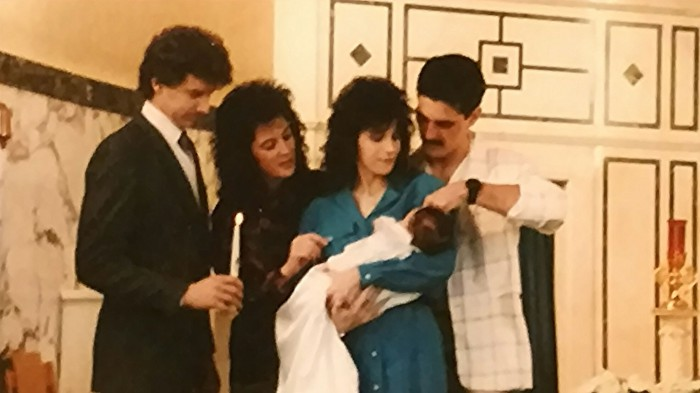 My brother Emile & my SIL Marcia became our first son's godparents. Check out that '80s hair!