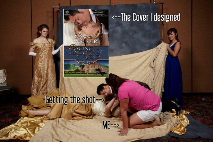 Behind the scenes on a photo shoot and what the finished cover looks like.